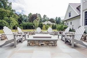 Earthscapes masonry work patio design of a backyard deck in Wilton, CT
