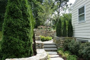 Earthscapes beautiful landscape design and masonry services of a side walkway
